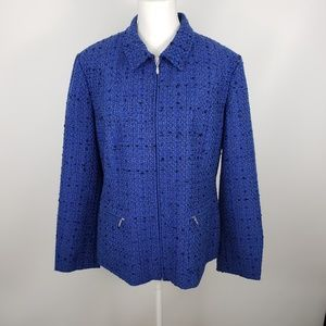 Coldwater Creek zip up jacket tweed blazer sz 14